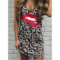 Print/Leopard Sleeveless Shift Above Knee Sexy Tank Dresses