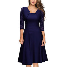 Solid 3/4 Sleeves A-line Knee Length Vintage/Party/Elegant Dresses