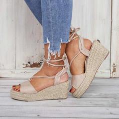 Femmes Similicuir Talon compensé Sandales Compensée À bout ouvert avec Dentelle chaussures