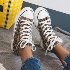 Femmes Toile Décontractée De plein air avec La copie Animale Dentelle chaussures