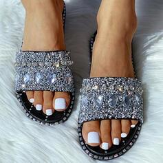 Mulheres PVC Sem salto Chinelos com Strass Espumante Glitter sapatos