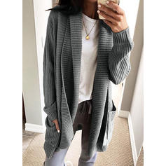 Polyester Long Sleeves Solid Pocket Cardigans