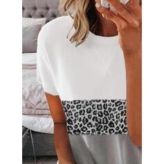 Color Block luipaard Ronde Hals Korte Mouwen T-shirts