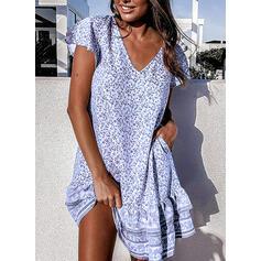 Print/Floral Short Sleeves Shift Above Knee Casual/Boho/Vacation Dresses