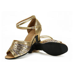 Women's Latin Sandals Sparkling Glitter With Ankle Strap Latin