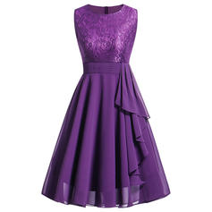 Lace Solid Round Neck Knee Length A-line Dress