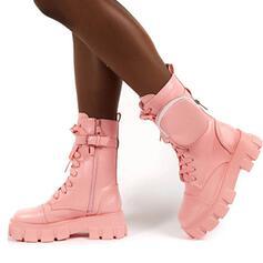 Női Műbőr Alacsony sarok Mid-Calf Csizma Kerek lábujj -Val Lace-up cipő