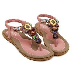 Női Műbőr Lapos sarok Szandál -Val gyüngyfüzér cipő