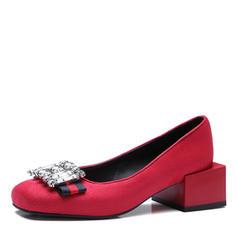 Femmes Suède Talon bottier Escarpins Bout fermé avec Strass chaussures