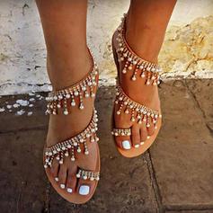 Femmes Similicuir Talon plat Sandales Chaussures plates À bout ouvert Escarpins avec Perle d'imitation Chaîne chaussures