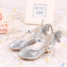 Girl's Leatherette Low Heel Closed Toe Pumps Flower Girl Shoes With Bowknot Sparkling Glitter Velcro