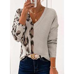 Leopardo Cuello en V Manga Larga Camisetas