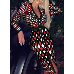 Print Long Sleeves Sheath Elegant Midi Dresses