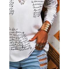 Print Lace Letter V-Neck Long Sleeves Casual Blouses
