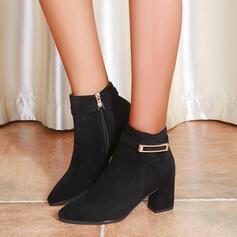 Mulheres PU Salto robusto Bota no tornozelo Dedo pontudo com Fivela Zíper Outros sapatos