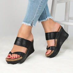 Women's Leatherette Wedge Heel Sandals Pumps Wedges Peep Toe Slingbacks shoes