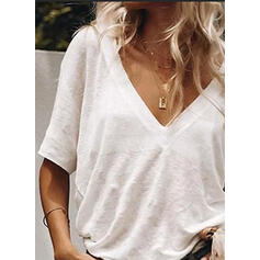 Solid V-Neck 1/2 Sleeves Casual T-shirts
