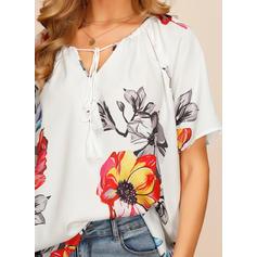 Fleurie Col V Manches Courtes Décontractée Élégante T-shirts