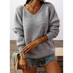 Solid Chunky knit V-Neck Casual Sweaters