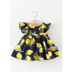 Girls Round Neck Print Ruffles Casual Cute Dress