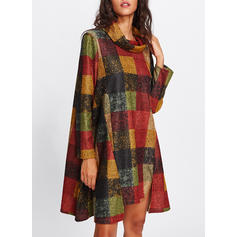 Plaid/Patchwork Long Sleeves Shift Knee Length Casual Dresses