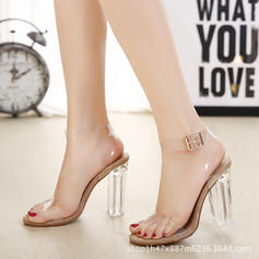 Women's Plastics Stiletto Heel Sandals Pumps With Crystal Heel shoes
