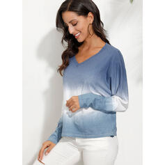 Gradient V-Neck 3/4 Sleeves Casual T-shirts