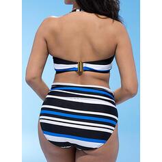 Rayures Faire monter Dos Nu Sexy Grande taille Bikinis Maillots De Bain
