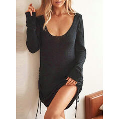 Solid/Backless Long Sleeves Bodycon Above Knee Little Black/Casual Sweater Dresses