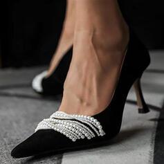 Bayanlar PU Yavru kedi Pompalar Kapalı Toe Sivri parmak Ile yapay İnci ayakkabı