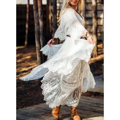 Koronka/Jednolita Rękawy 3/4/Rozkloszowane rękawy W kształcie litery A Łyżwiaż Elegancki Maxi Sukienki