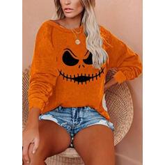 Nyomtatás Halloween Kerek nyak Hosszú ujjú Pulóver