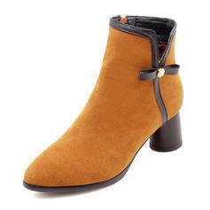 Kvinnor Mocka Tjockt Häl Pumps Stängt Toe Stövlar Boots Halva Vaden Stövlar med Bowknot skor