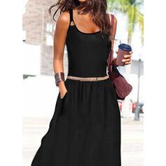 Solid Kolsuz Bir Çizgi Gecelik/Patenci Negre/gündelik/Tatil Maxi Elbiseler