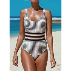 Stripe Strap U-Neck Sexy Vintage One-piece Swimsuits