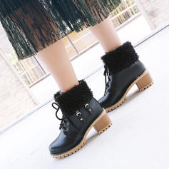 De mujer PU Tacón ancho Salón Plataforma Botas Botas al tobillo con Cordones Piel Sintética zapatos