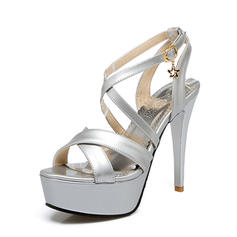 Women's PU Stiletto Heel Pumps Platform With Buckle shoes