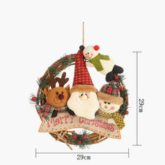 Merry Christmas Snowman Reindeer Santa Wicker Non-Woven Fabric Tree Hanging Ornaments Christmas Wreath