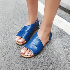 Femmes PU Talon plat Sandales Chaussures plates À bout ouvert avec Autres chaussures