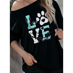 Animal Print One-Shoulder Long Sleeves Casual T-shirts