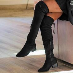 Femmes Suède Talon bottier Bottes avec Zip Dentelle Couleur unie chaussures