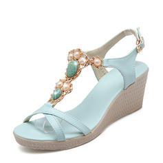 Frauen Kunstleder Keil Absatz Absatzschuhe Keile mit Nachahmungen von Perlen Schuhe