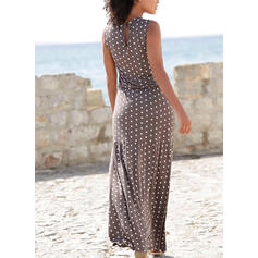 PolkaDot Sleeveless A-line Casual/Vacation Maxi Dresses