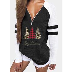 Print Color Block Leopard Figure V-Neck Long Sleeves Casual Christmas Blouses