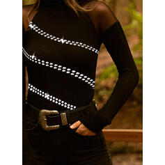 Sequins Stand collar Long Sleeves Casual Blouses