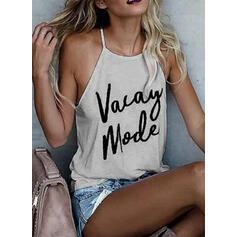 Estampado Alças finas Sem Mangas Sexy Camisetas regata