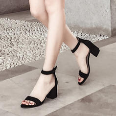 Women's Suede Chunky Heel Pumps Peep Toe With Imitation Pearl Others Braided Strap Split Joint shoes