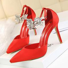 Kvinder PU Stiletto Hæl Pumps med Crystal Spænde sko
