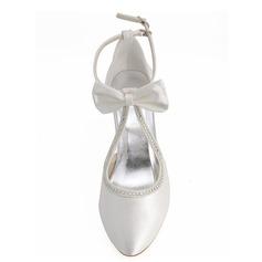 Mulheres como o cetim de seda Salto agulha Bombas com Cristal