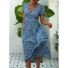 Nadrukowana/Kwiatowy Krótkie rękawy W kształcie litery A Łyżwiaż Casual Midi Sukienki